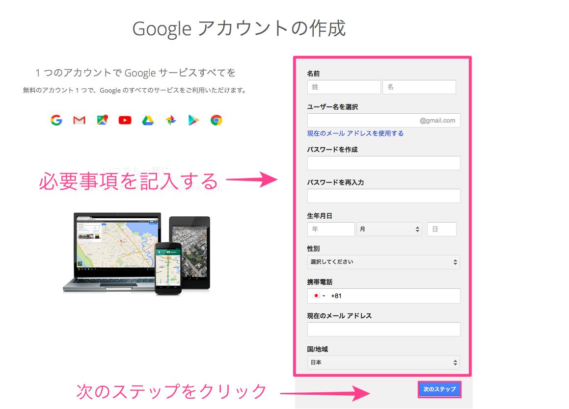 gmail,グーグルアカウント